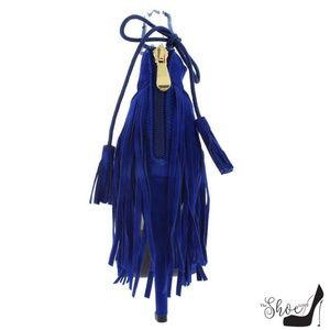 The Shoe Loft Shoes - Bliss Royal Blue Fringe Lace Up Heels